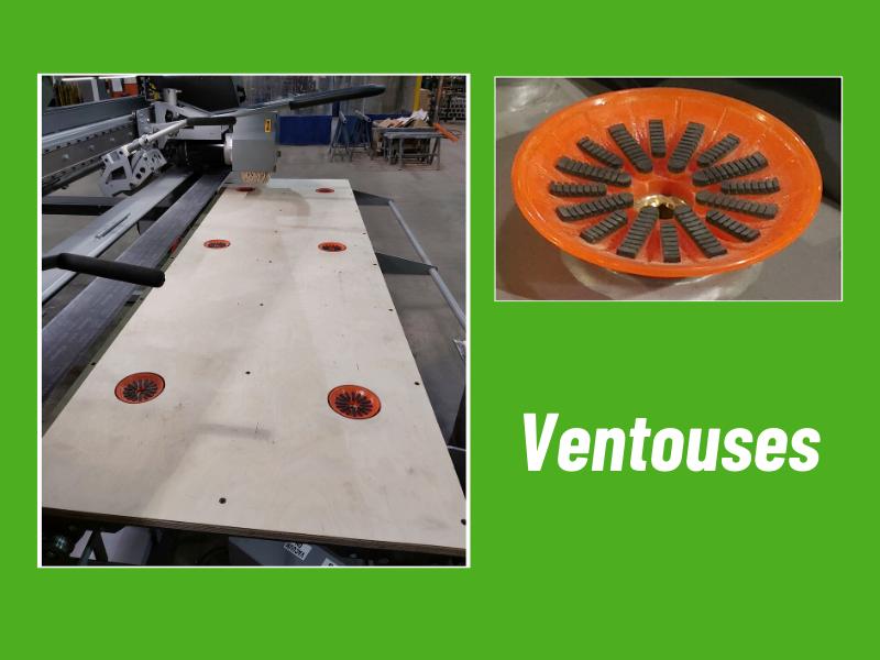 Vacuum à six (6) ventouses avec bouton d'activation individuel, pour tenir les pièces