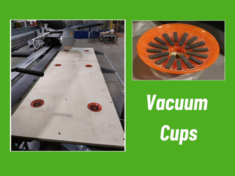 Six (6) Vacuum Cups with individual activation switch, to hold parts